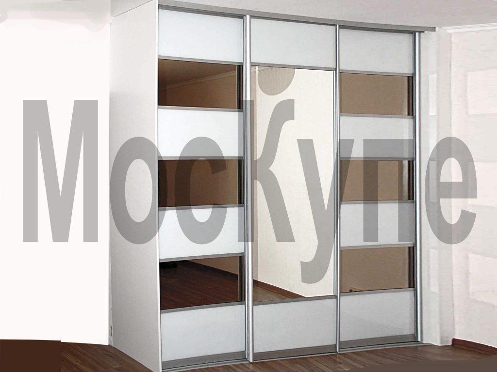 """комбинированный шкаф купе """"Сезен"""" с тонированными зеркалами и белым стеклом"""