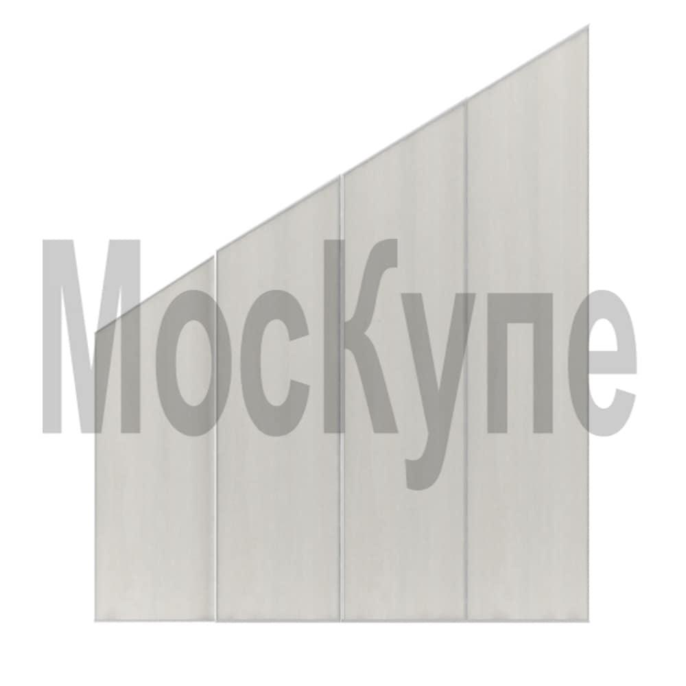 встроенный шкаф купе с четырьмя скошенными дверями для мансардной комнаты