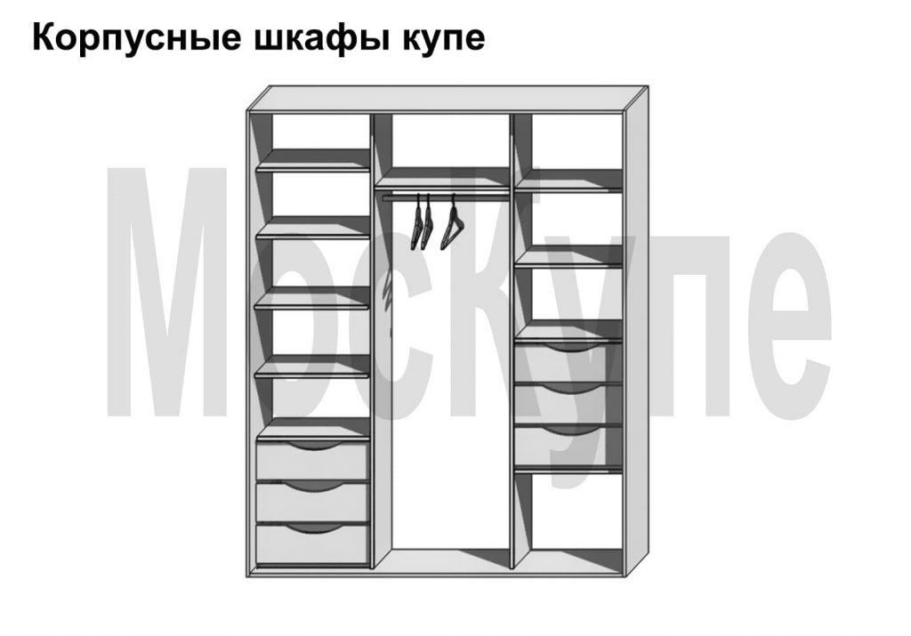 пример наполнения корпусного шкафа купе с ящиками в двух секциях и штангой по центру