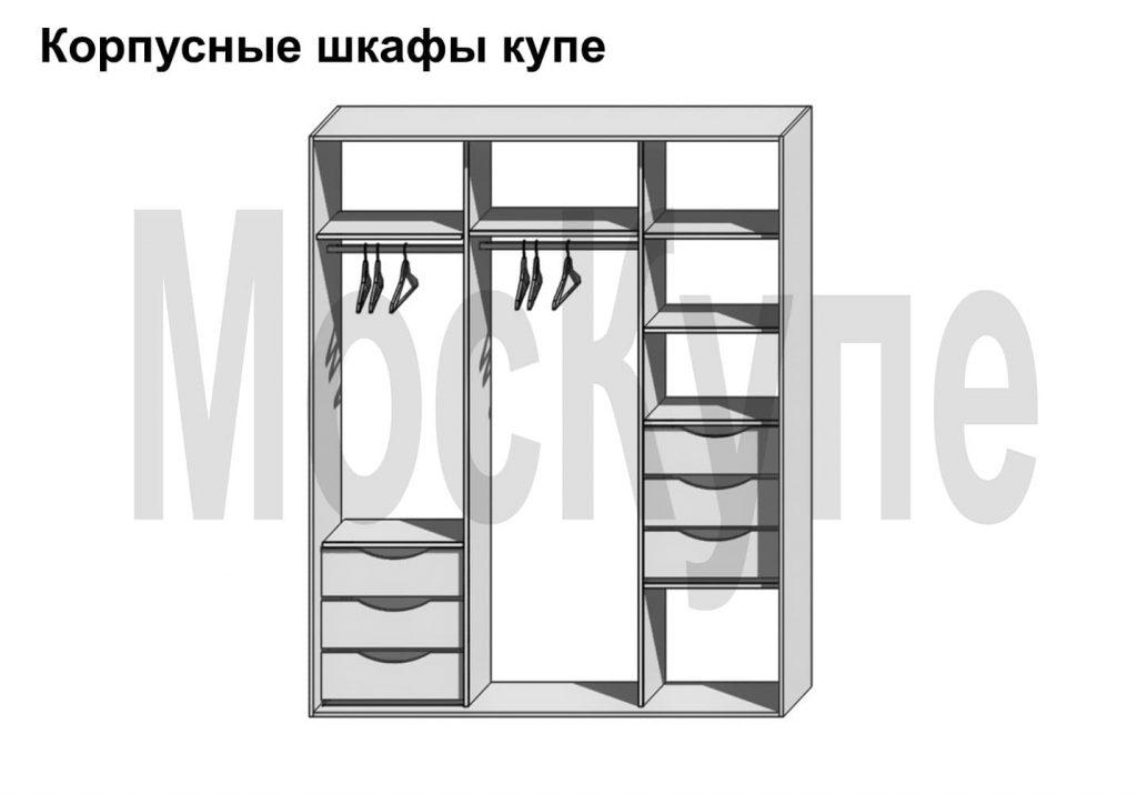 пример наполнения корпусного шкафа купе с ящиками в двух секциях и двумя штангами
