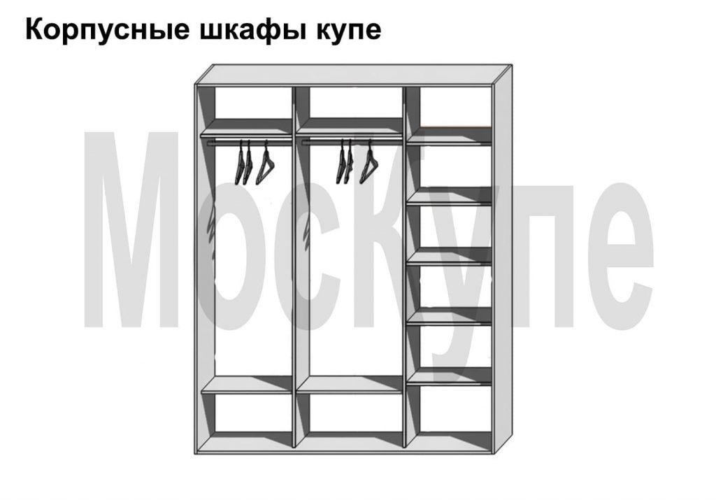 пример наполнения трехсекционного корпусного шкафа купе от 1500 до 3000 мм с полками и штангами