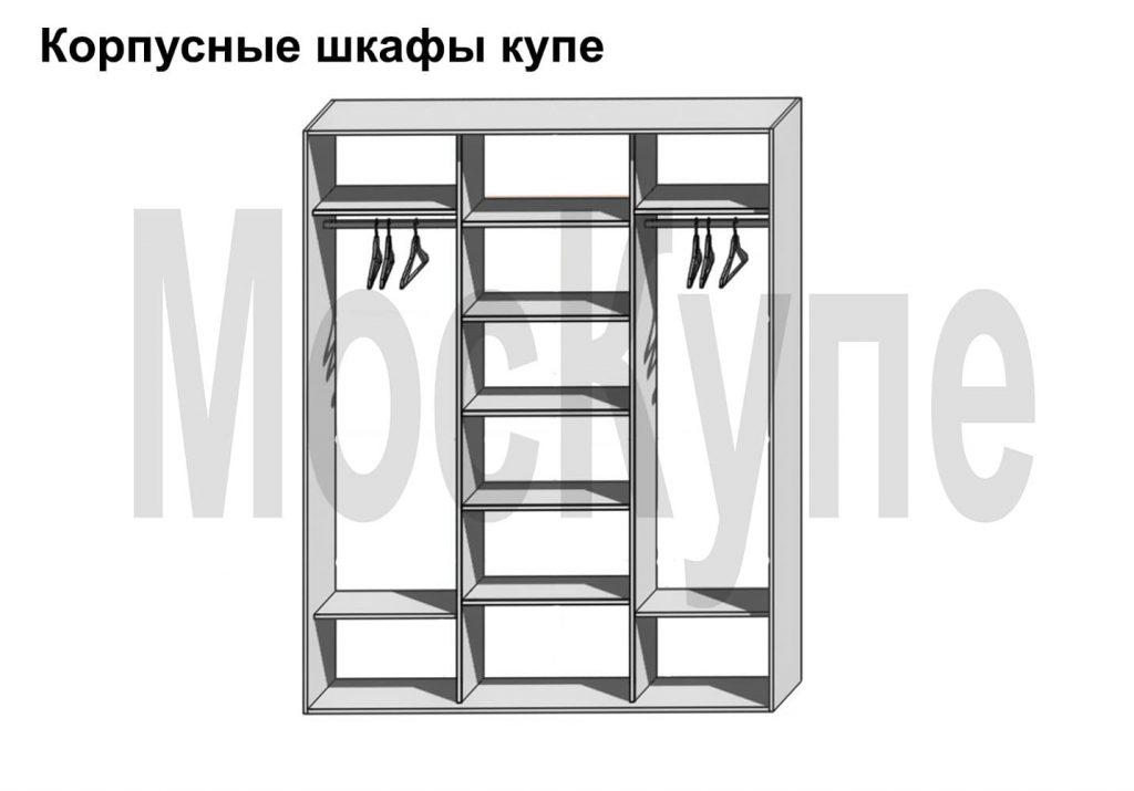 пример наполнения трехсекционного корпусного шкафа купе от 1500 до 3000 мм с полками и двумя штангами