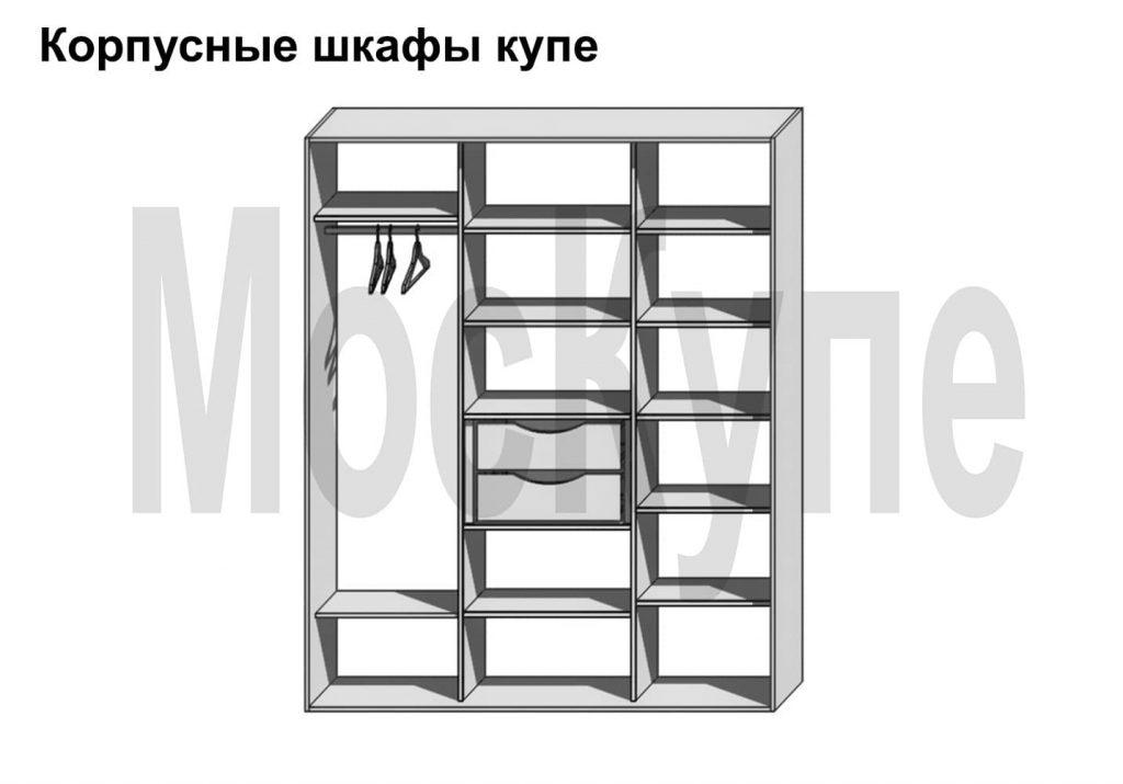 пример наполнения трехсекционного корпусного шкафа купе от 1500 до 3000 мм с полками, штангой слева и двумя ящиками