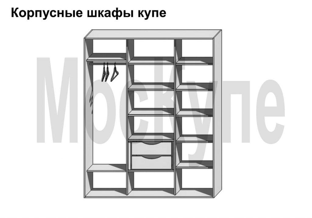 пример наполнения трехсекционного корпусного шкафа купе от 1500 до 3000 мм с полками, штангой слева и 2 ящиками