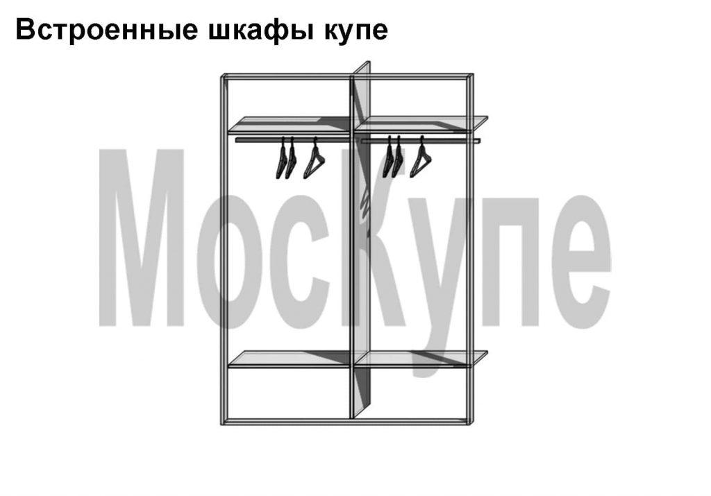 встроенный плательный шкаф купе с полками