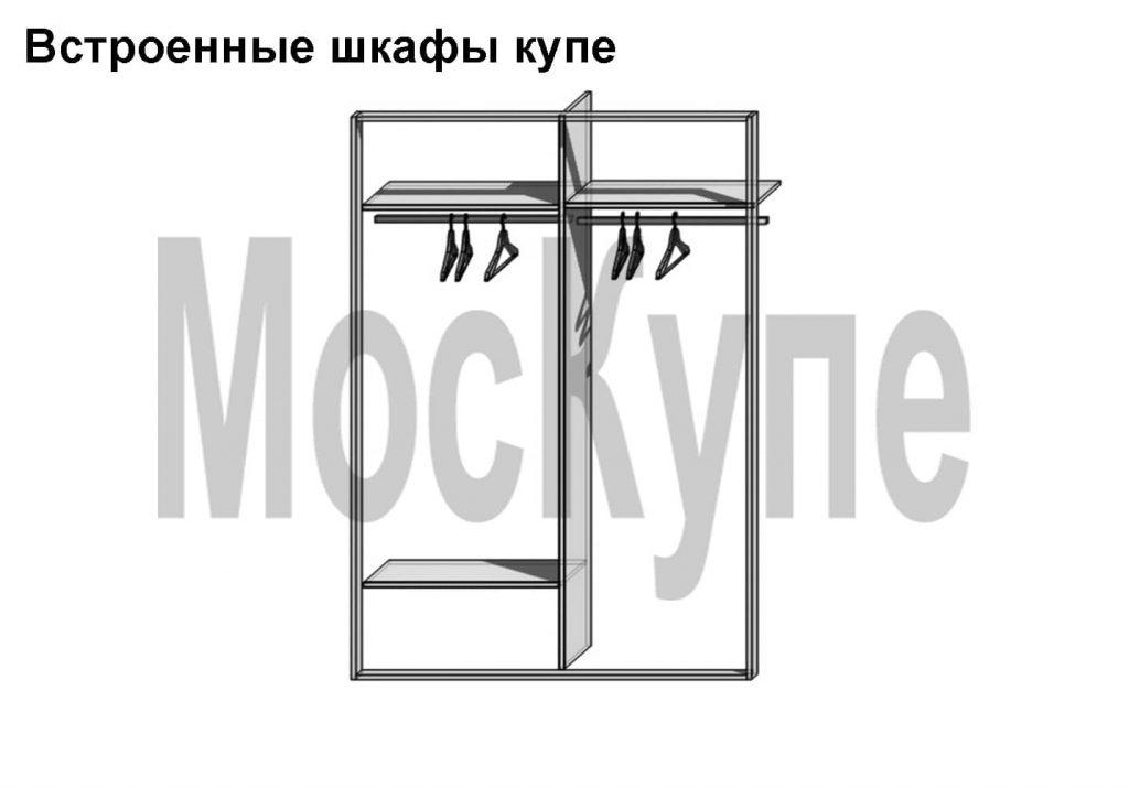 встроенный плательный шкаф купе с одной полкой слева
