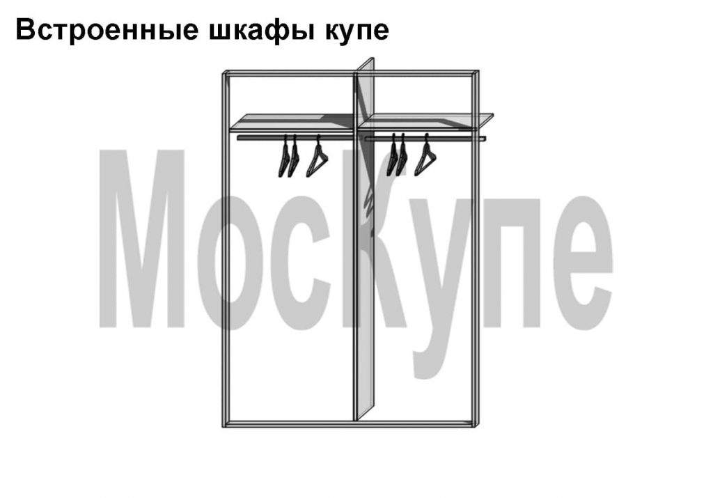 пример плательного шкафа купе размером от 1000 до 2000 мм