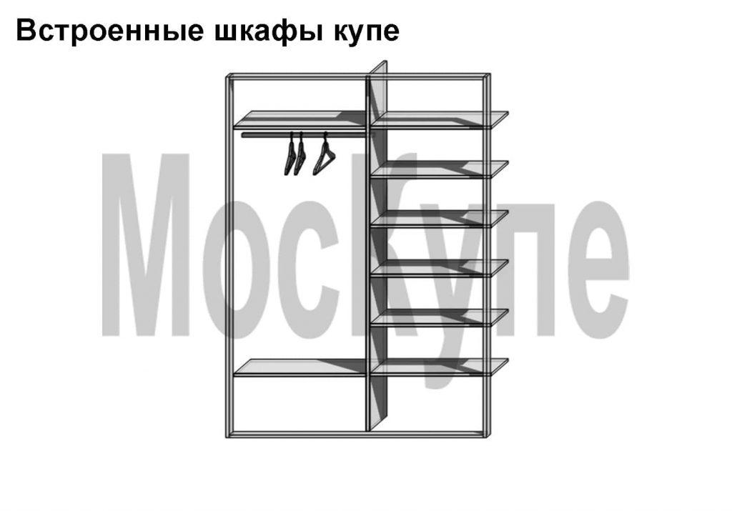 встроенный двухсекционный шкаф купе с полками и штангой