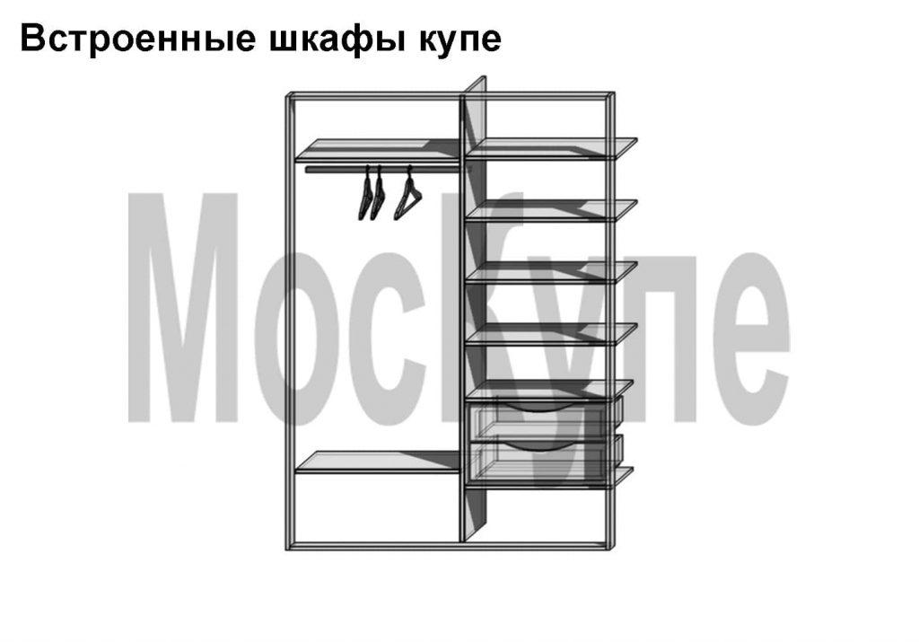 2-секционный встроенный шкаф купе с ящиками