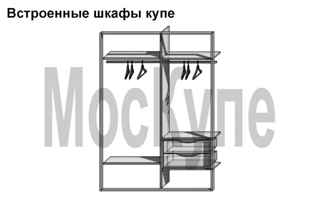 проект встроенного шкафа с плательными отделениями и ящиками