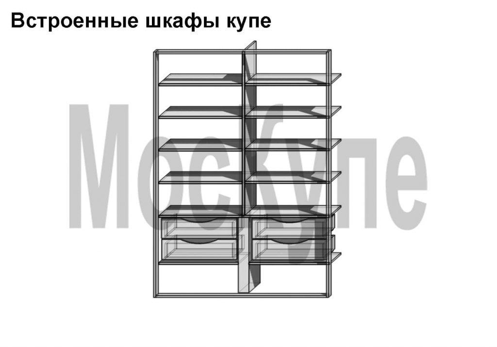 проект двухсекционного шкафа купе с полками и ящиками