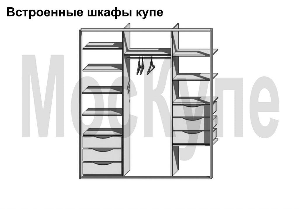 встроенный шкаф купе 2 секции с ящиками