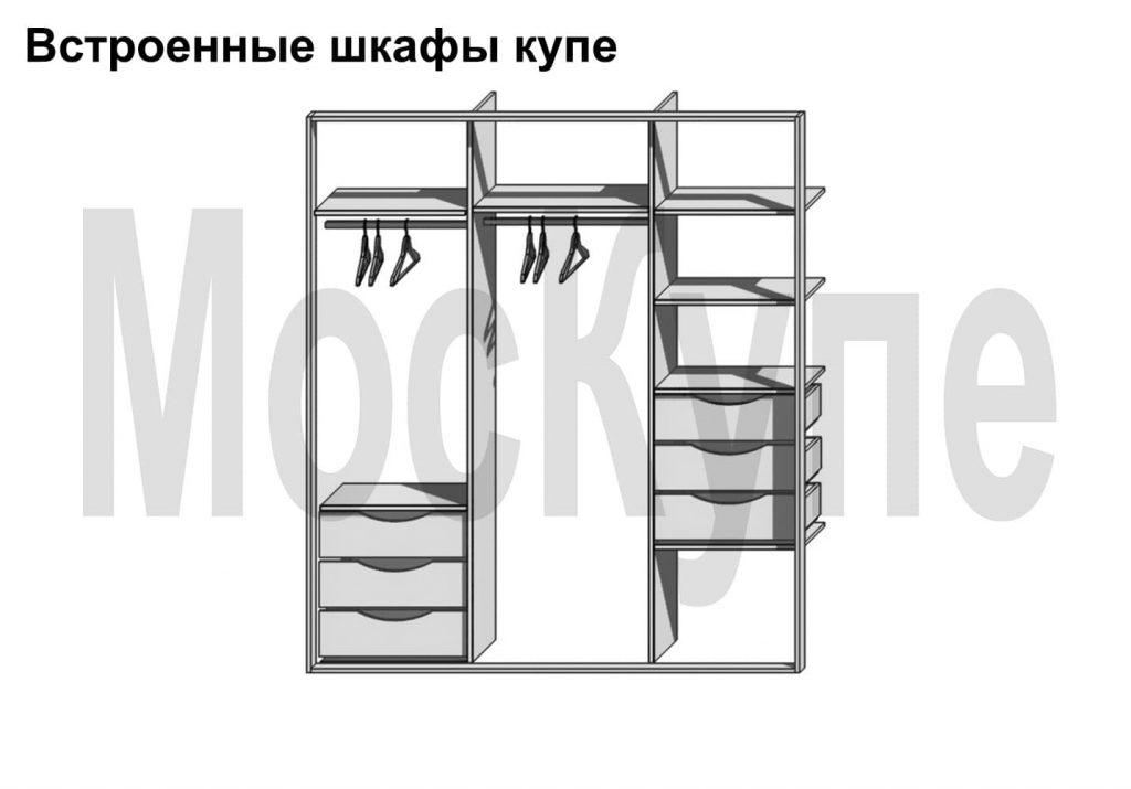 пример шкафа трехсекционного с перекладинами и ящиками