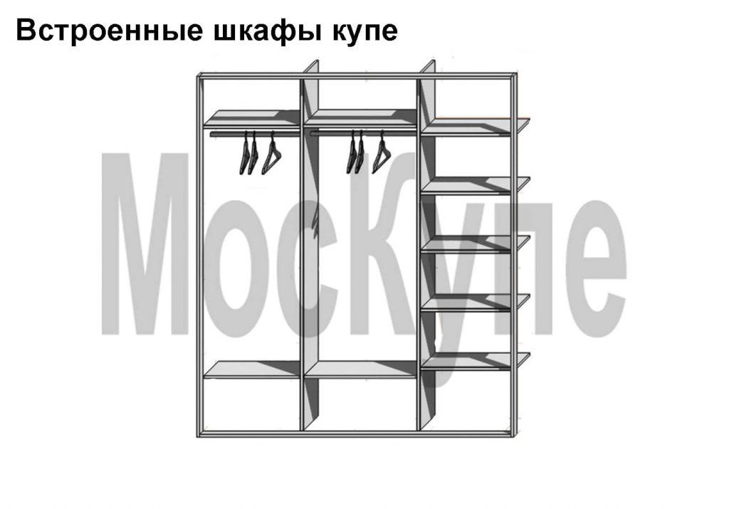 встроенный шкаф купе с 3 отделениями