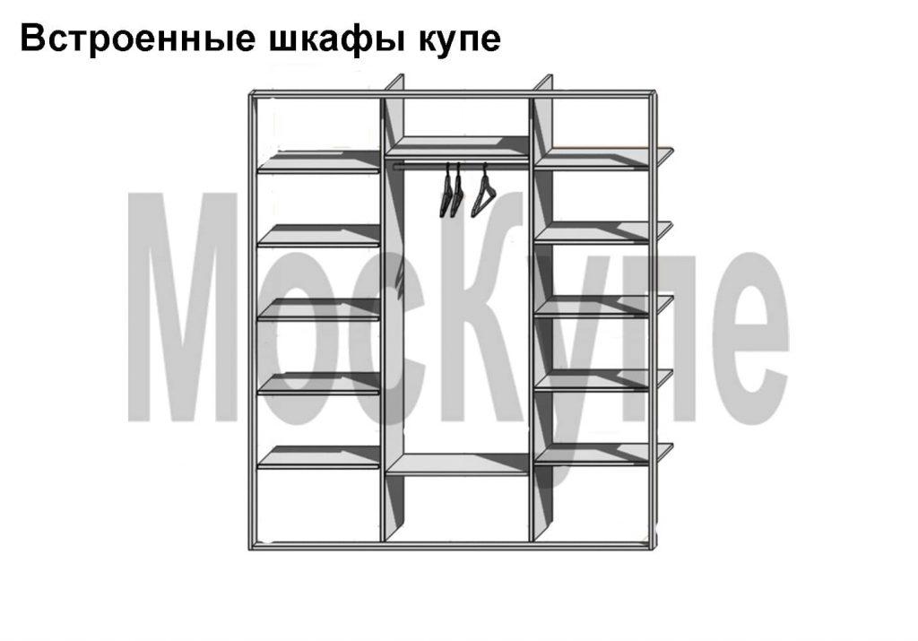 проект шкафа купе с полками и одной перекладиной