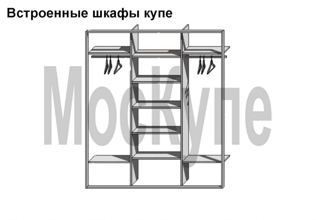 схема наполнения трехсекционного встроенного шкафа купе с двумя штангами и полками