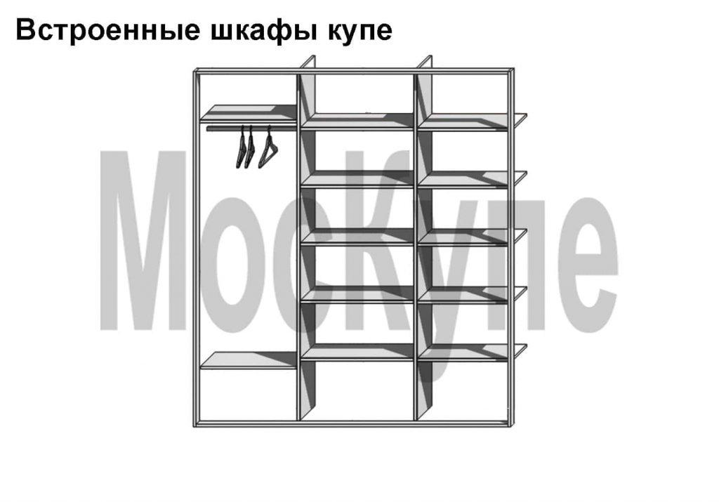 проект встроенного шкафа-два отдела полки, один-штанга