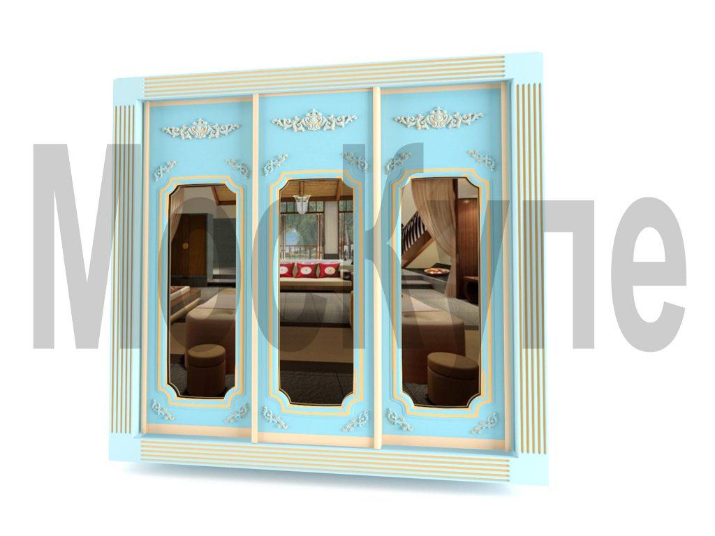 проект шкафа купе с пилястрами и декоративным орнаментом