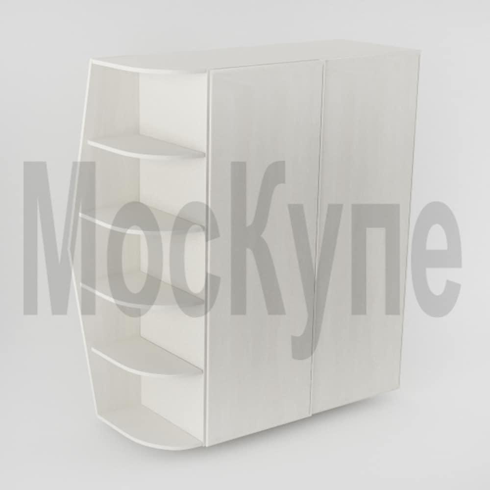 корпусный шкаф купе со скошенным угловым открытым элементом