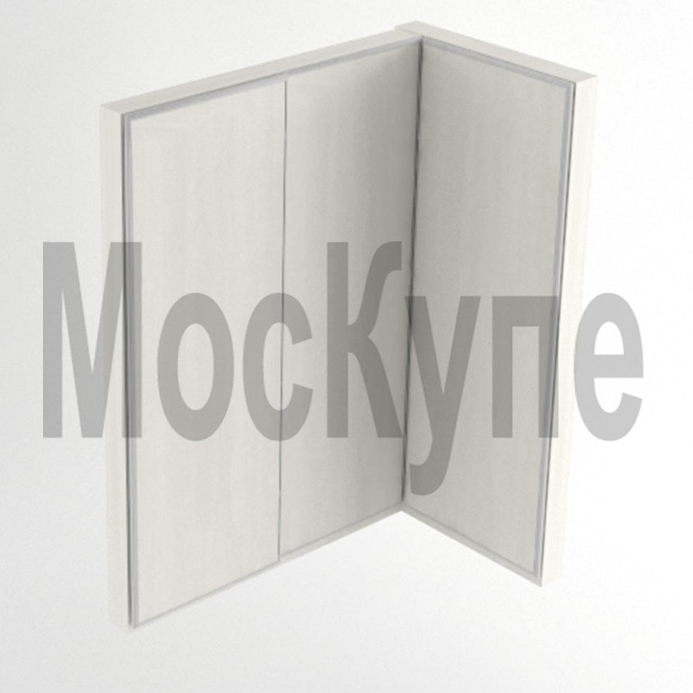 угловой встроенный шкаф купе под прямым углом в центре